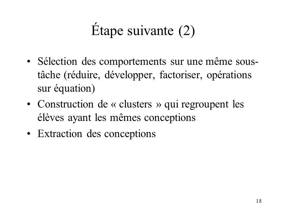 Étape suivante (2) Sélection des comportements sur une même sous-tâche (réduire, développer, factoriser, opérations sur équation)