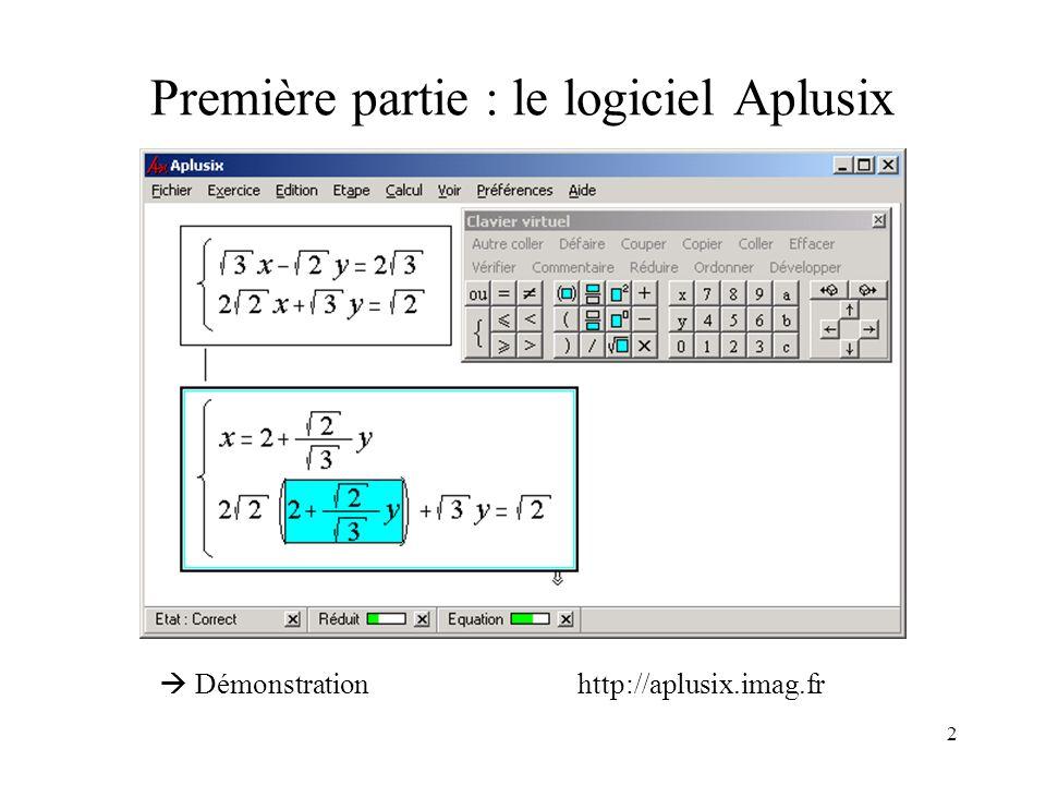 Première partie : le logiciel Aplusix