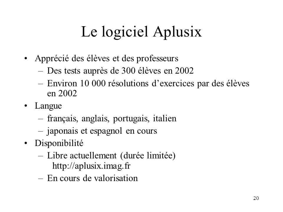 Le logiciel Aplusix Apprécié des élèves et des professeurs