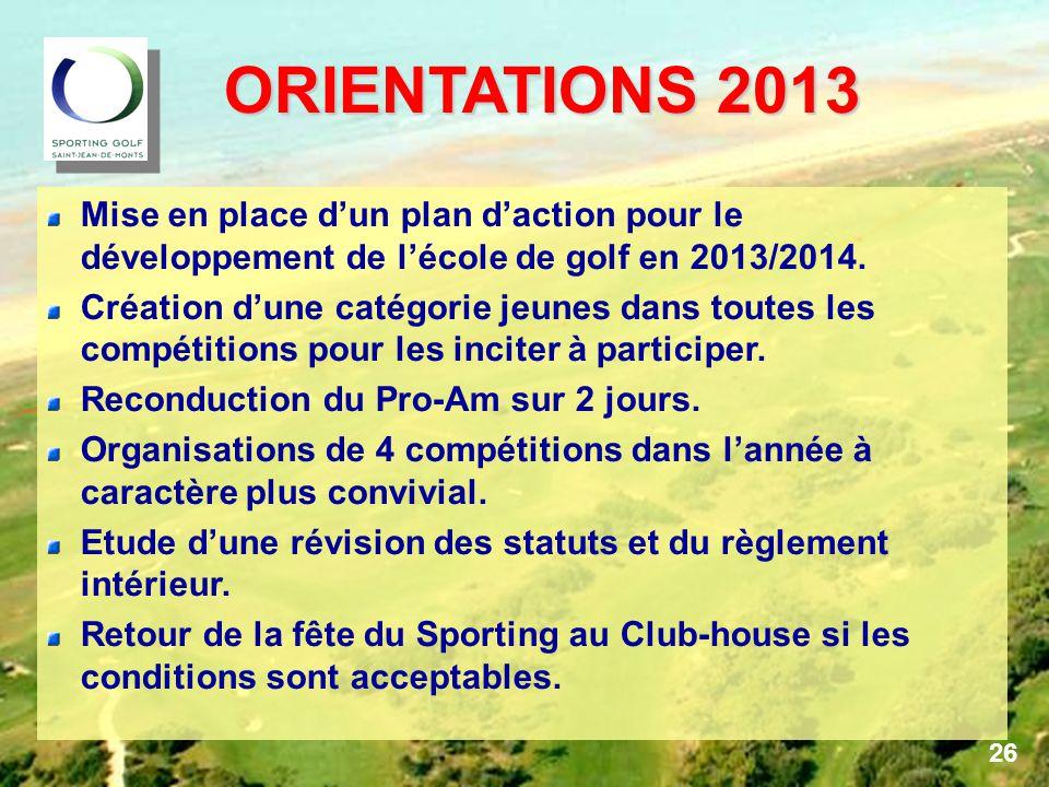 ORIENTATIONS 2013 Mise en place d'un plan d'action pour le développement de l'école de golf en 2013/2014.