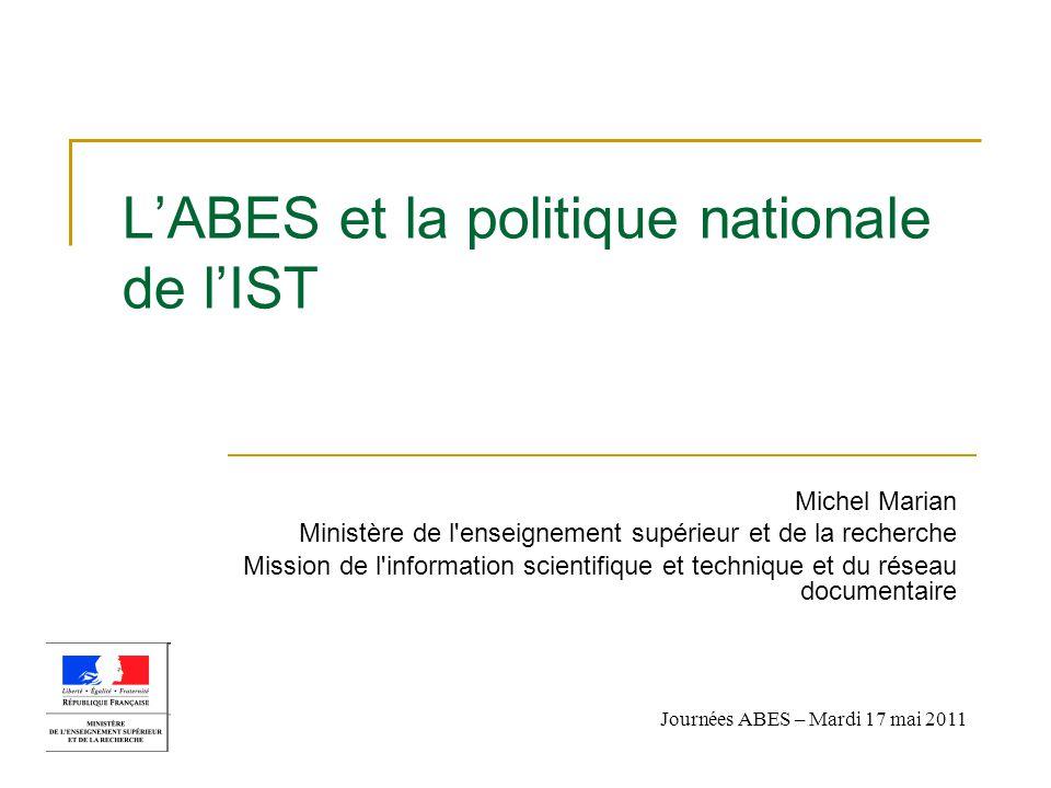 L'ABES et la politique nationale de l'IST