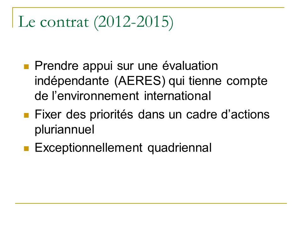 Le contrat (2012-2015) Prendre appui sur une évaluation indépendante (AERES) qui tienne compte de l'environnement international.