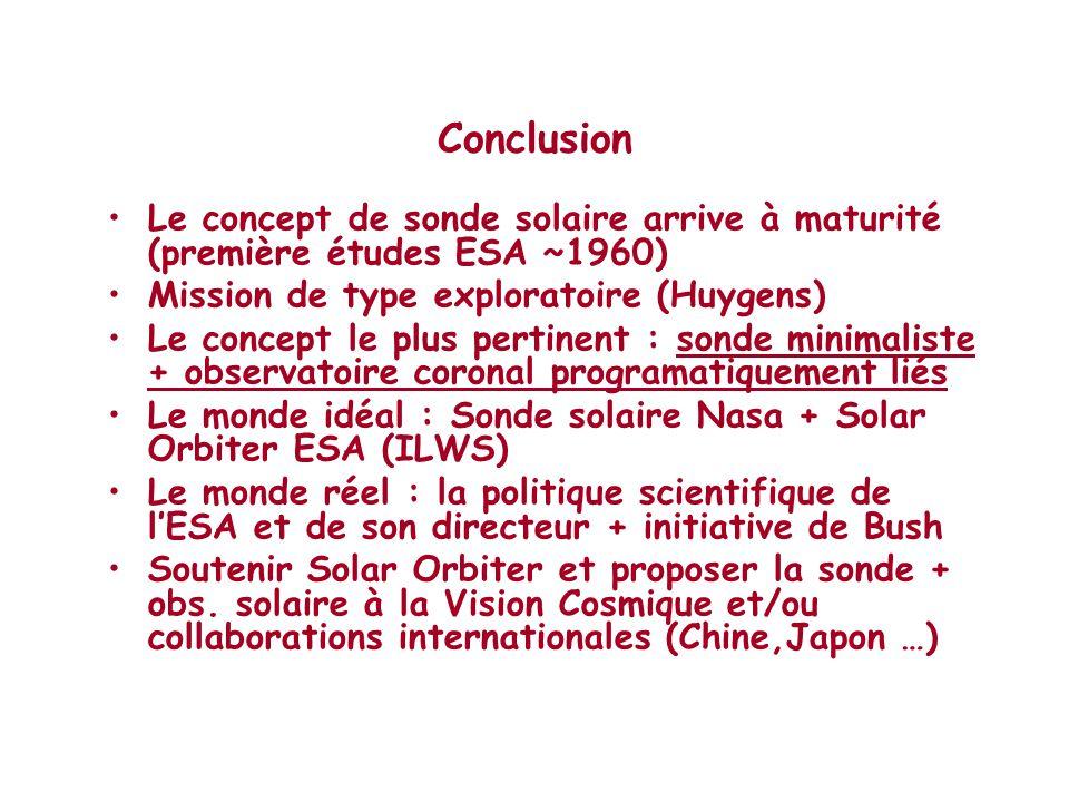 Conclusion Le concept de sonde solaire arrive à maturité (première études ESA ~1960) Mission de type exploratoire (Huygens)