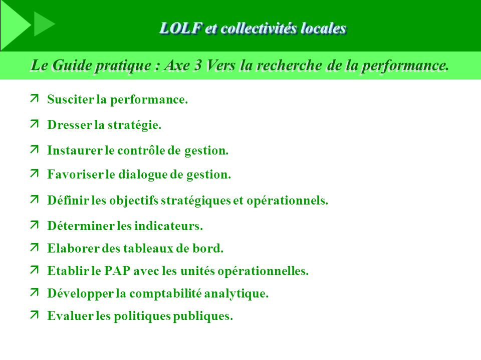 Le Guide pratique : Axe 3 Vers la recherche de la performance.