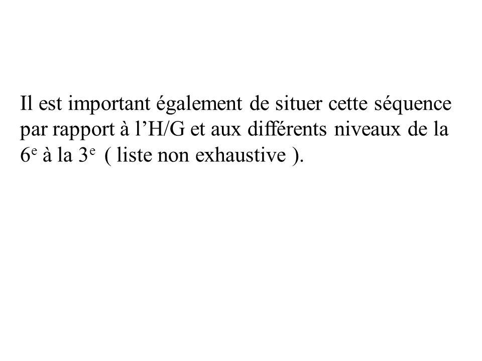 Il est important également de situer cette séquence par rapport à l'H/G et aux différents niveaux de la 6e à la 3e ( liste non exhaustive ).