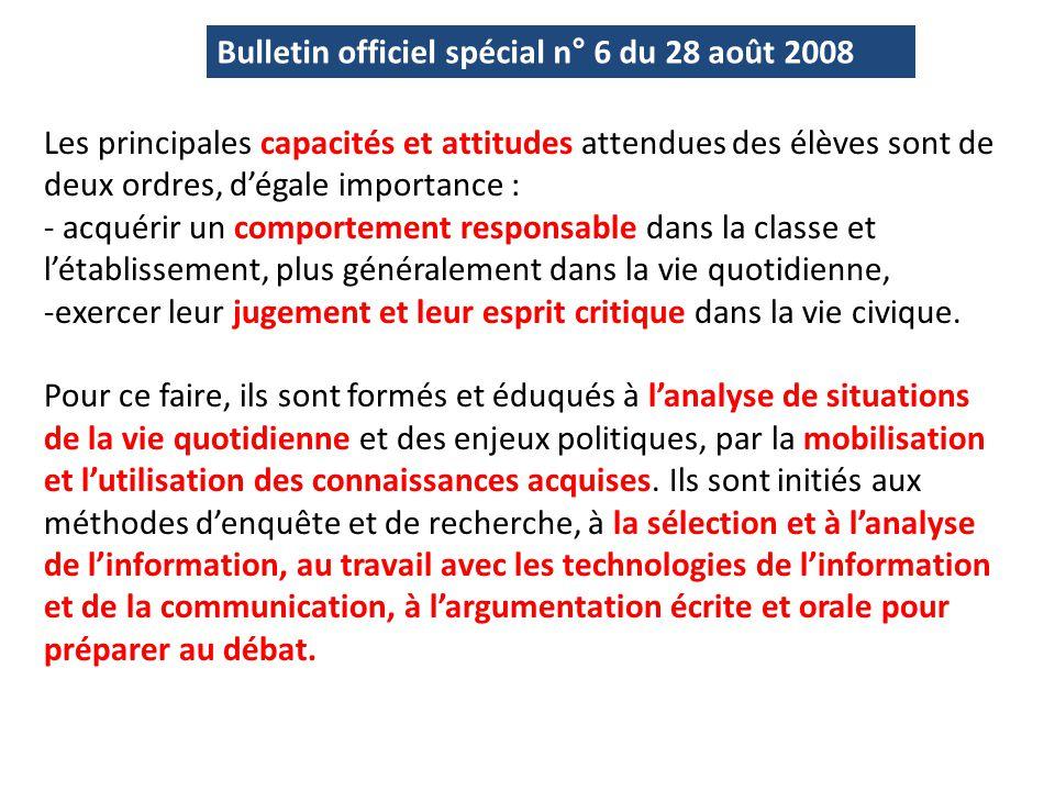 Bulletin officiel spécial n° 6 du 28 août 2008