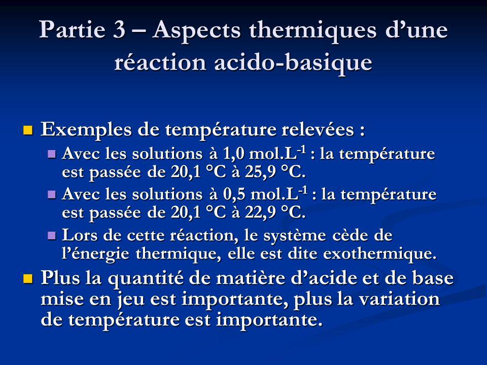 Partie 3 – Aspects thermiques d'une réaction acido-basique