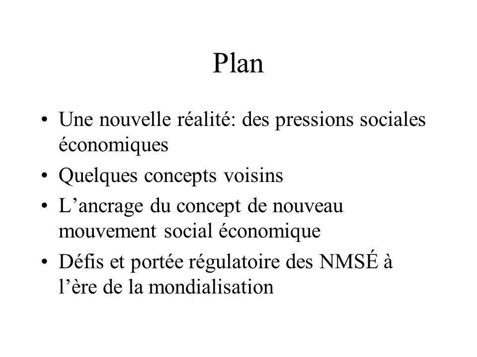 Plan Une nouvelle réalité: des pressions sociales économiques