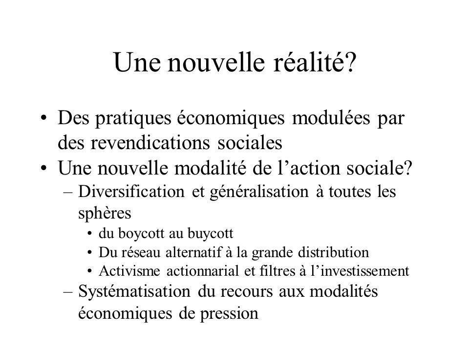 Une nouvelle réalité Des pratiques économiques modulées par des revendications sociales. Une nouvelle modalité de l'action sociale