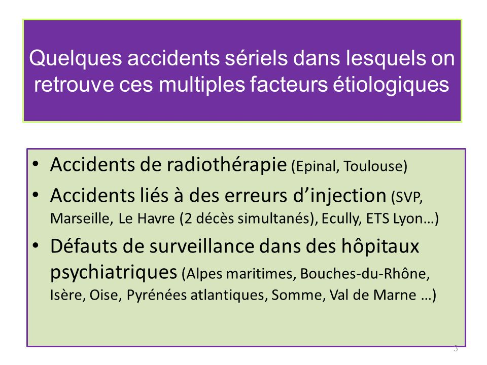 Quelques accidents sériels dans lesquels on retrouve ces multiples facteurs étiologiques