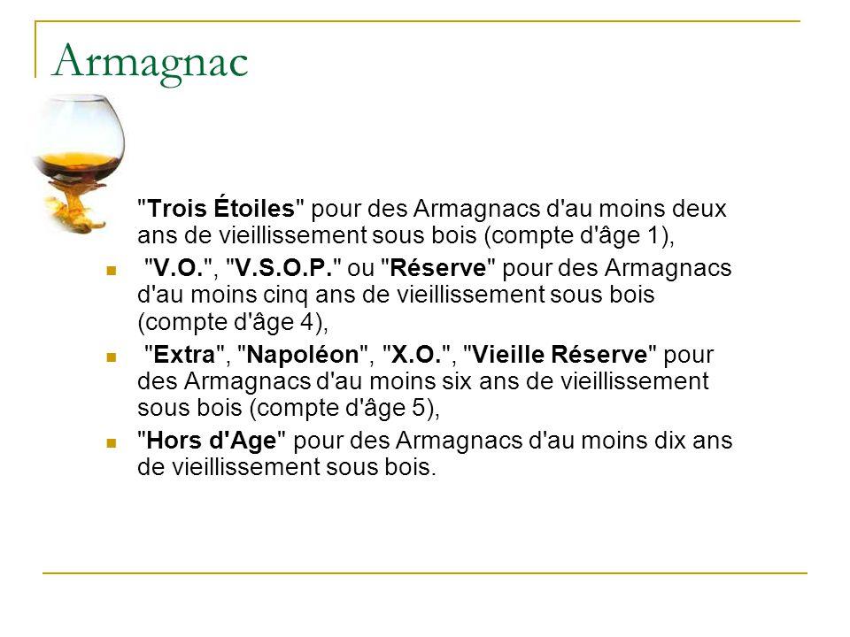 Armagnac Trois Étoiles pour des Armagnacs d au moins deux ans de vieillissement sous bois (compte d âge 1),