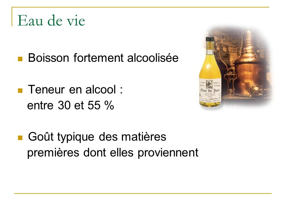 Eau de vie Boisson fortement alcoolisée Teneur en alcool :