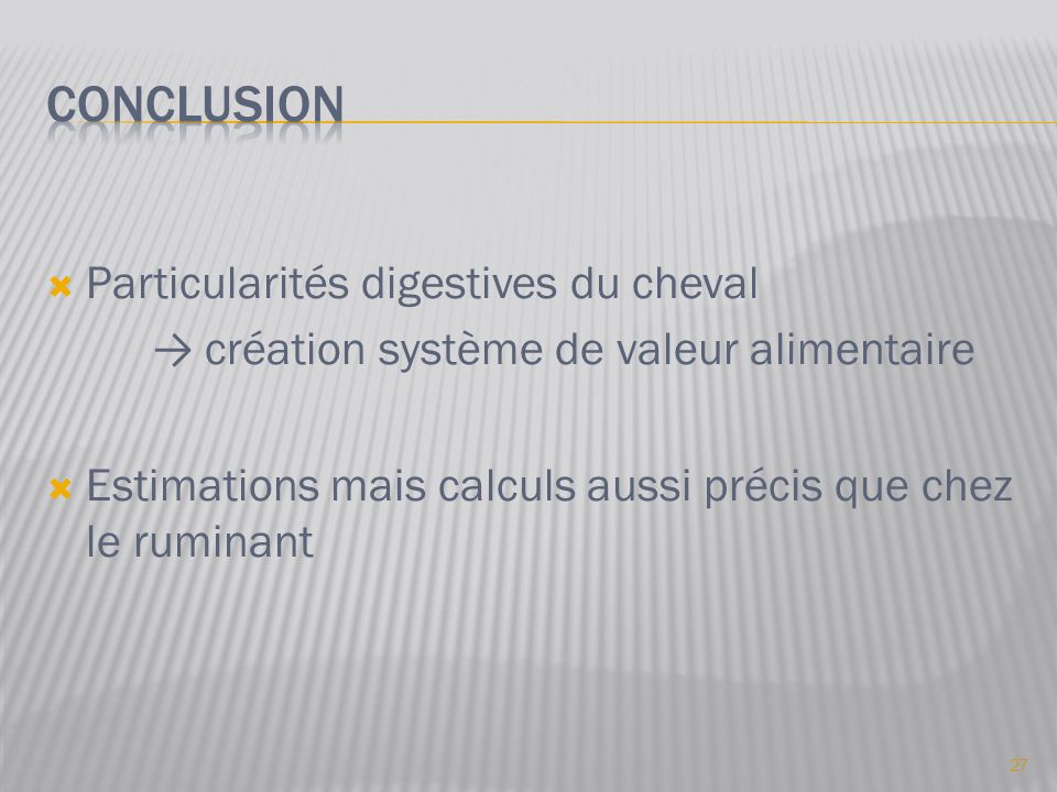 conclusion Particularités digestives du cheval