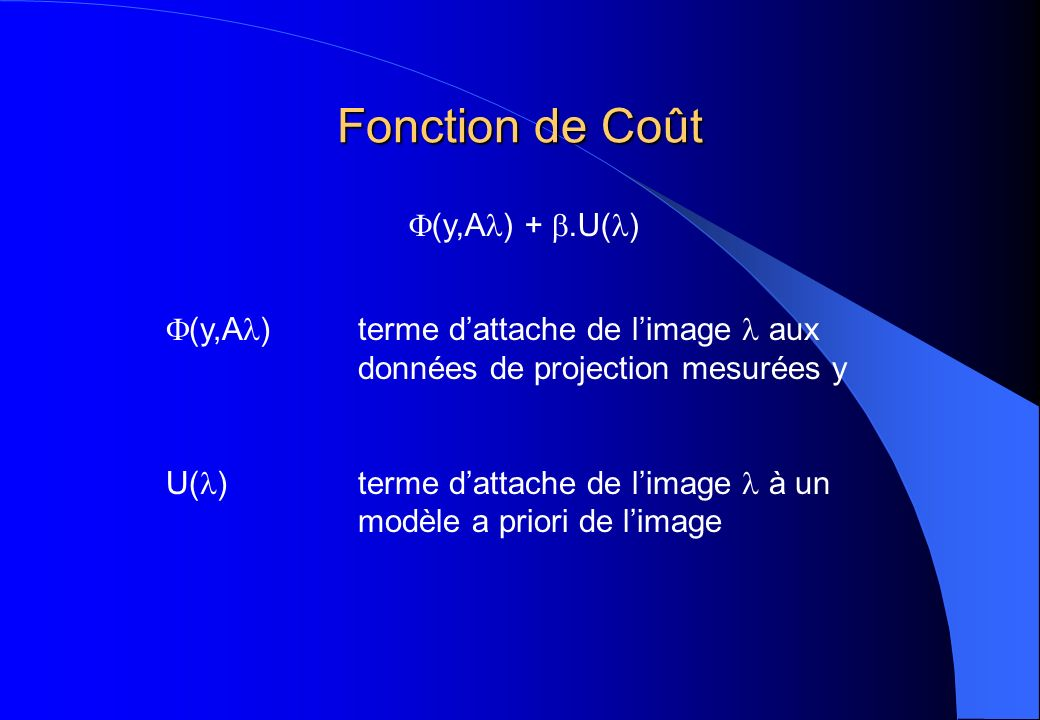 Fonction de Coût (y,A) + .U()