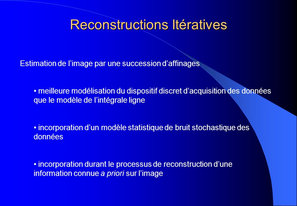 Reconstructions Itératives