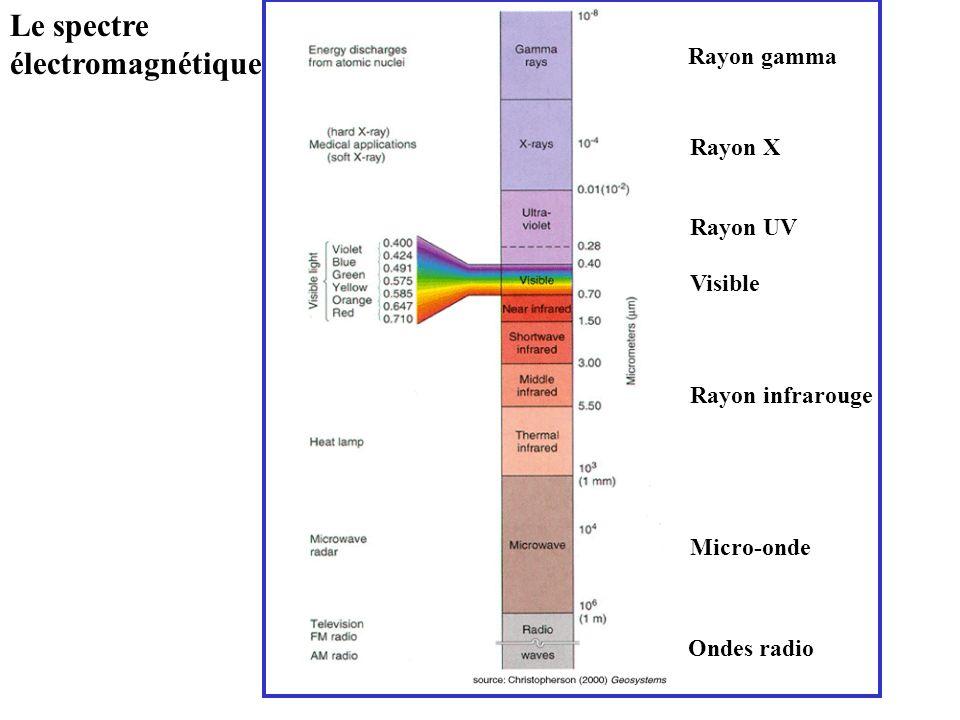 Le spectre électromagnétique Rayon gamma Rayon X Rayon UV Visible