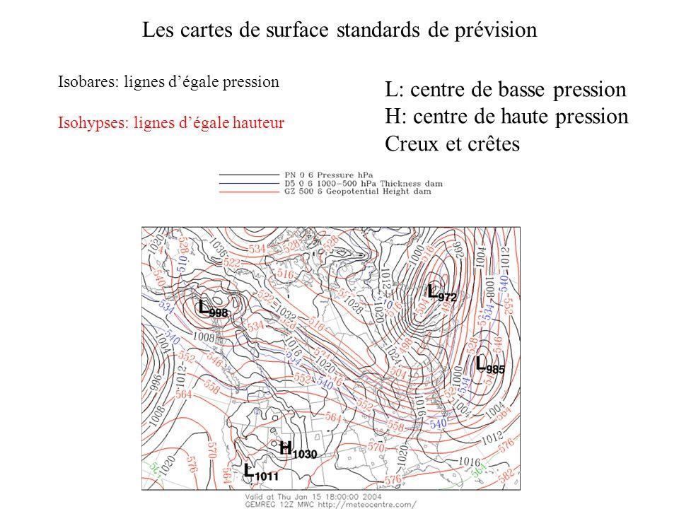 Les cartes de surface standards de prévision