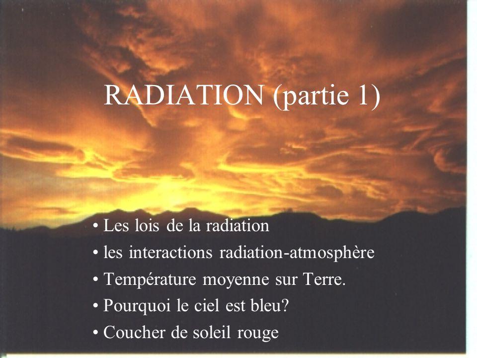 RADIATION (partie 1) Les lois de la radiation