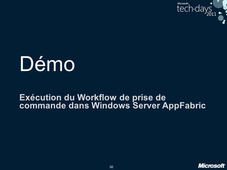 Démo Exécution du Workflow de prise de commande dans Windows Server AppFabric Benjamin date