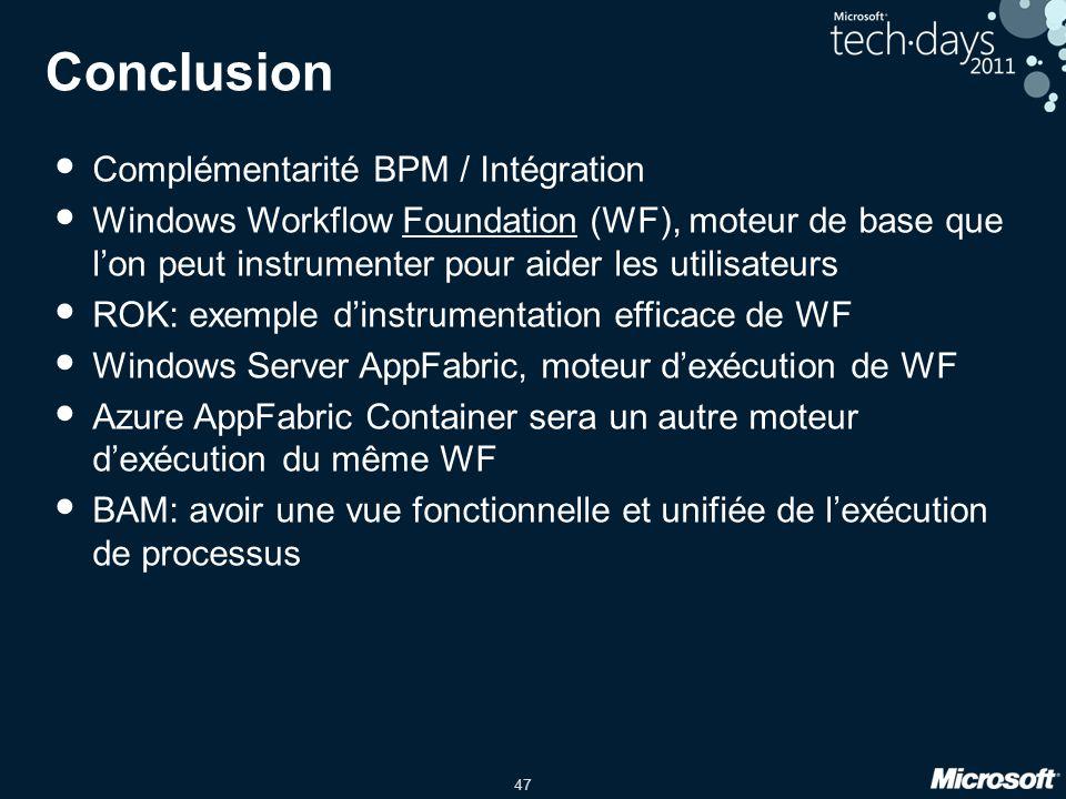 Conclusion Complémentarité BPM / Intégration