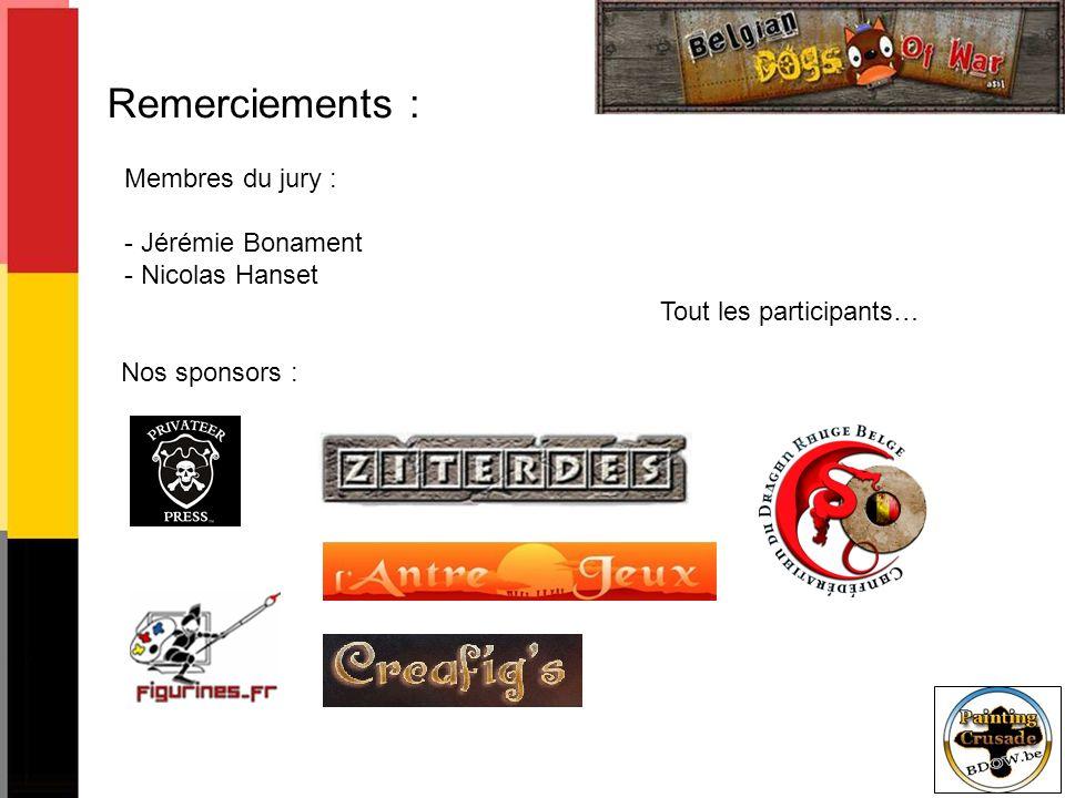 Remerciements : Membres du jury : Jérémie Bonament Nicolas Hanset