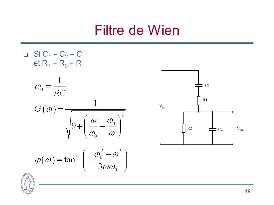 Filtre de Wien Si C1 = C2 = C et R1 = R2 = R