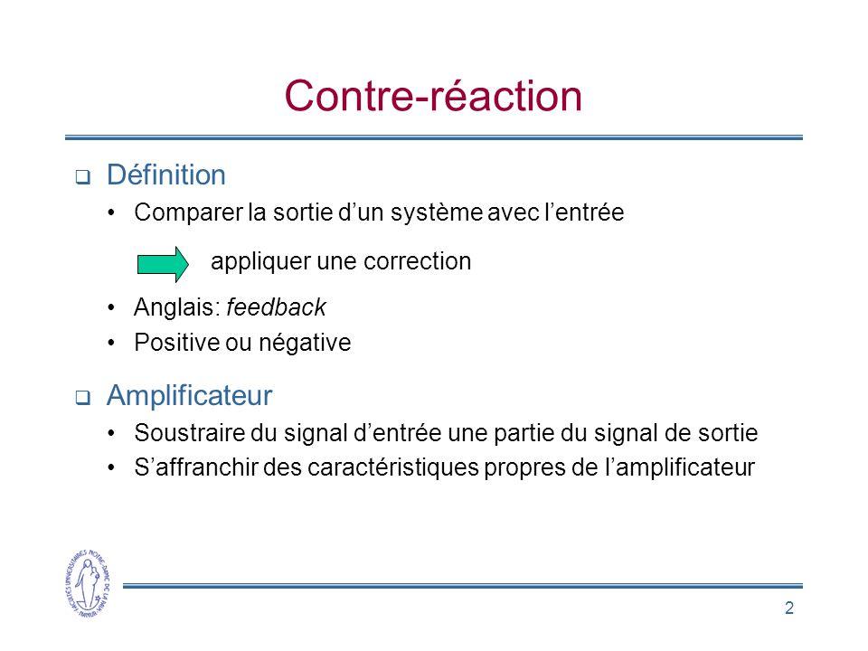 Contre-réaction Définition Amplificateur