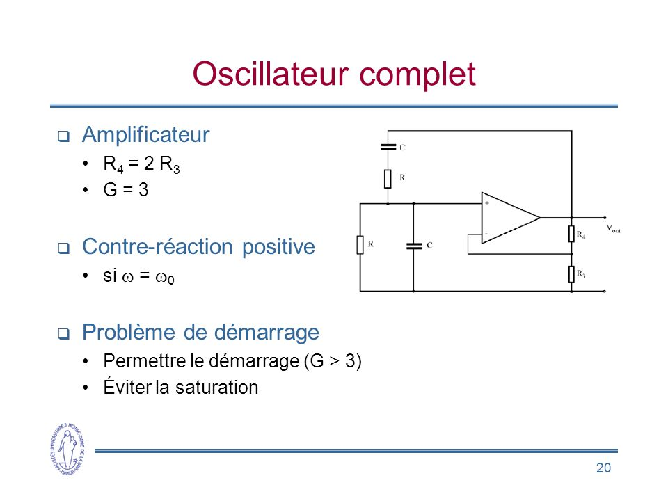 Oscillateur complet Amplificateur Contre-réaction positive