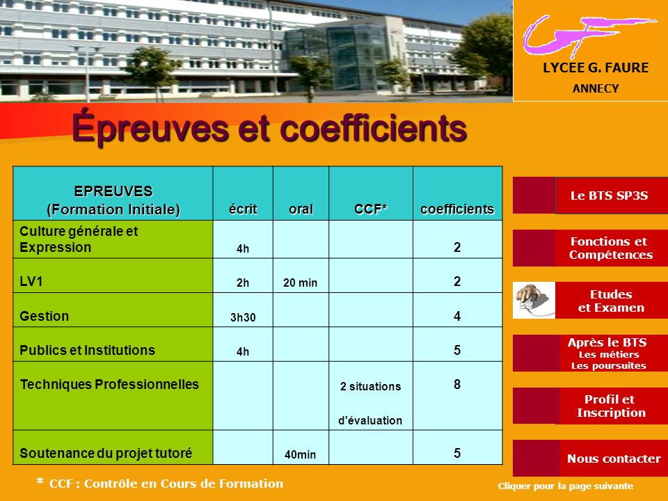 Épreuves et coefficients