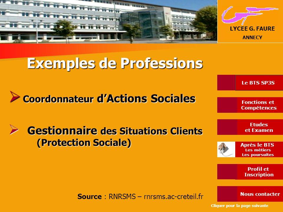 Exemples de Professions