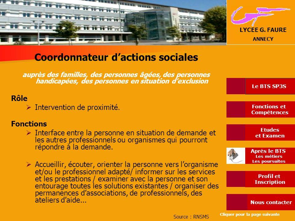 Coordonnateur d'actions sociales