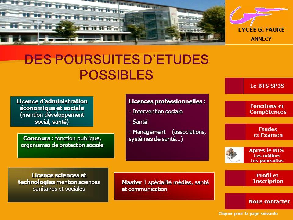 DES POURSUITES D'ETUDES POSSIBLES Licences professionnelles :