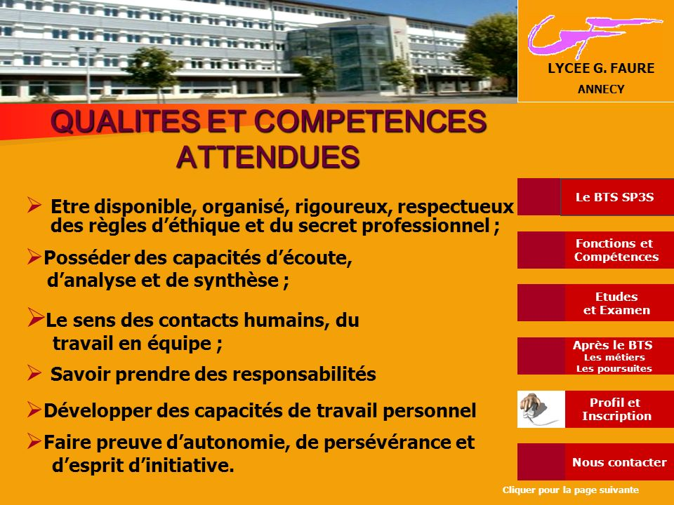 QUALITES ET COMPETENCES ATTENDUES
