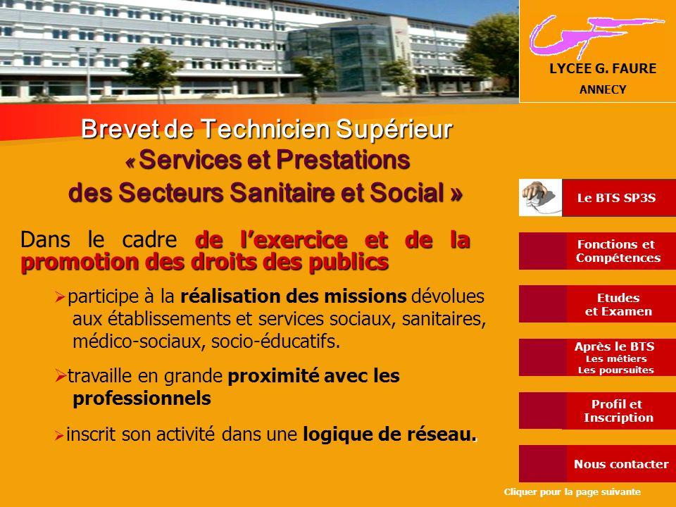 Brevet de Technicien Supérieur « Services et Prestations des Secteurs Sanitaire et Social »