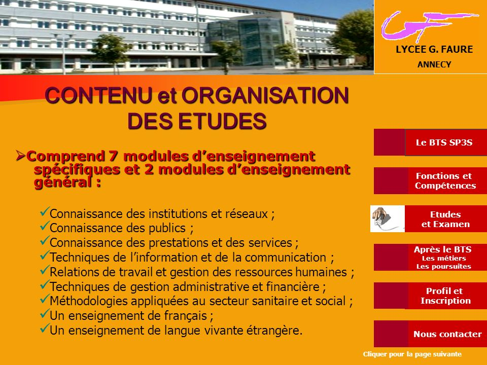 CONTENU et ORGANISATION DES ETUDES