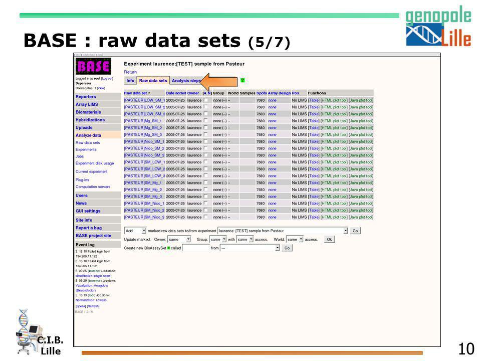BASE : raw data sets (5/7)