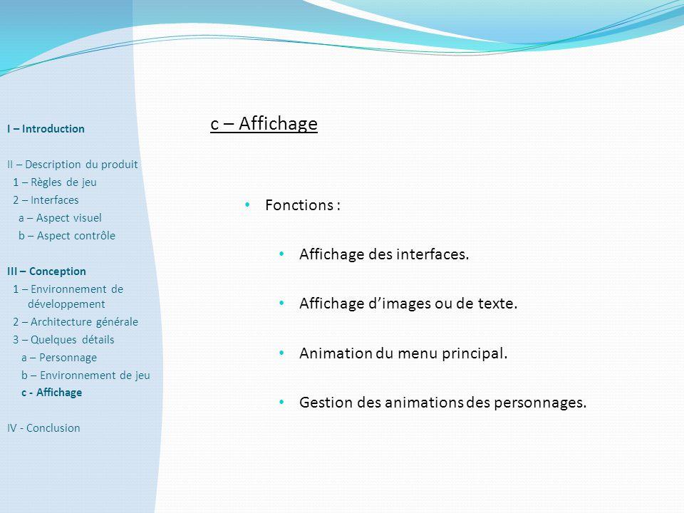 c – Affichage Fonctions : Affichage des interfaces.