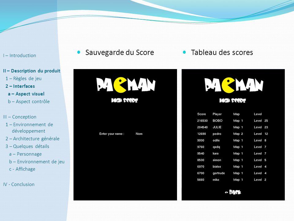 Sauvegarde du Score Tableau des scores I – Introduction