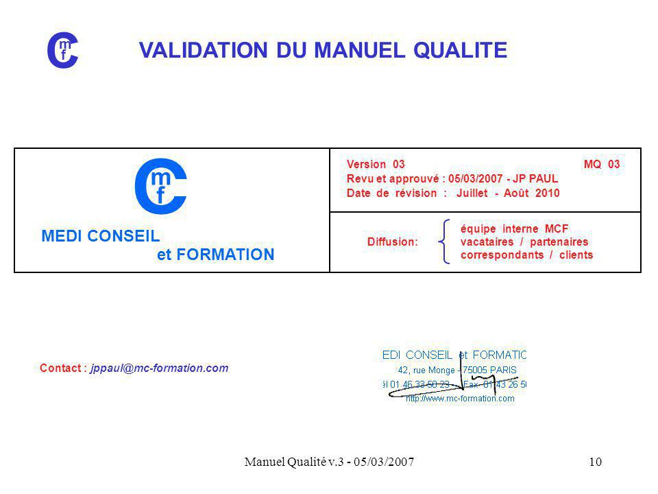 VALIDATION DU MANUEL QUALITE