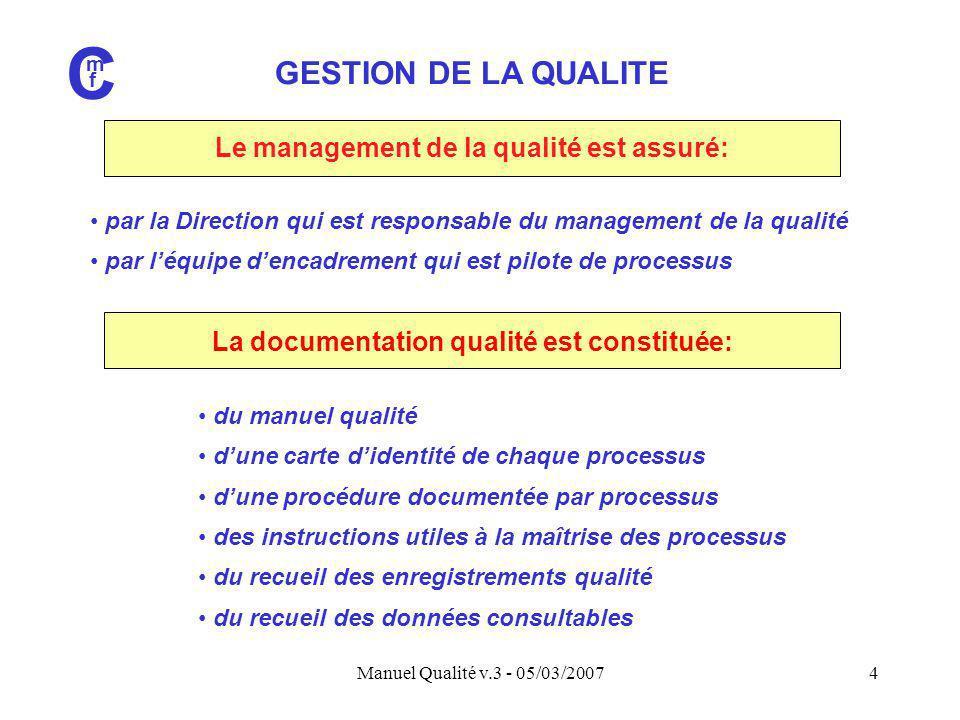 C GESTION DE LA QUALITE Le management de la qualité est assuré: