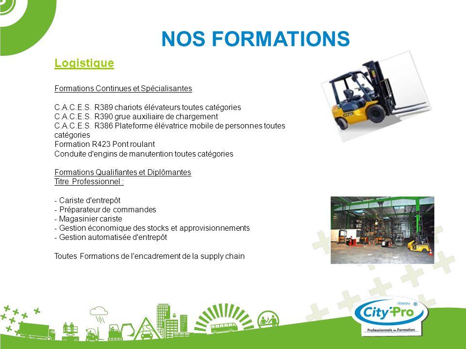 NOS FORMATIONS Logistique Formations Continues et Spécialisantes