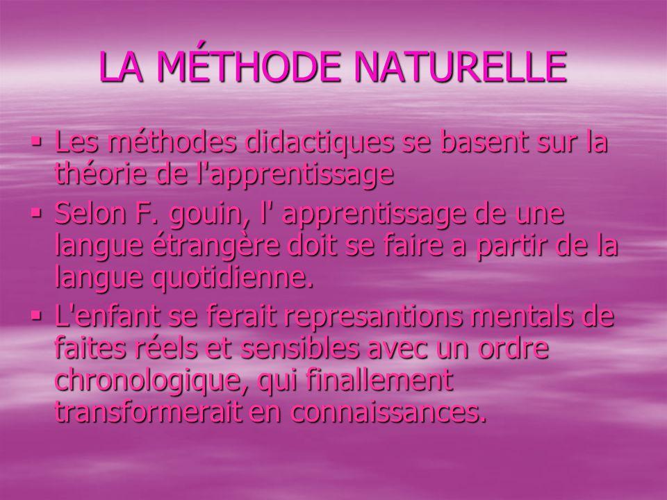 LA MÉTHODE NATURELLE Les méthodes didactiques se basent sur la théorie de l apprentissage.