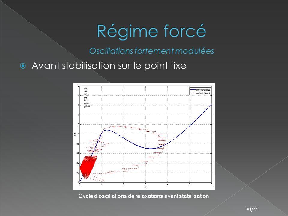 Régime forcé Avant stabilisation sur le point fixe