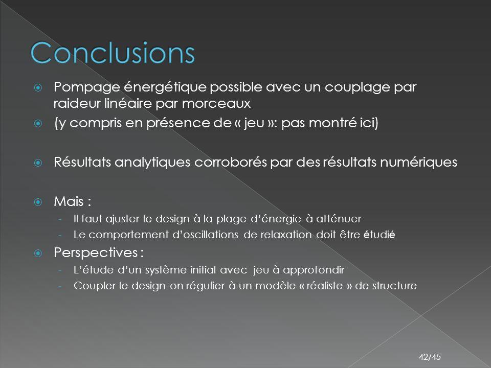 Conclusions Pompage énergétique possible avec un couplage par raideur linéaire par morceaux. (y compris en présence de « jeu »: pas montré ici)