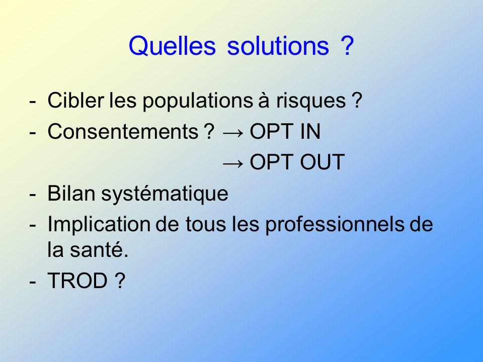 Quelles solutions Cibler les populations à risques