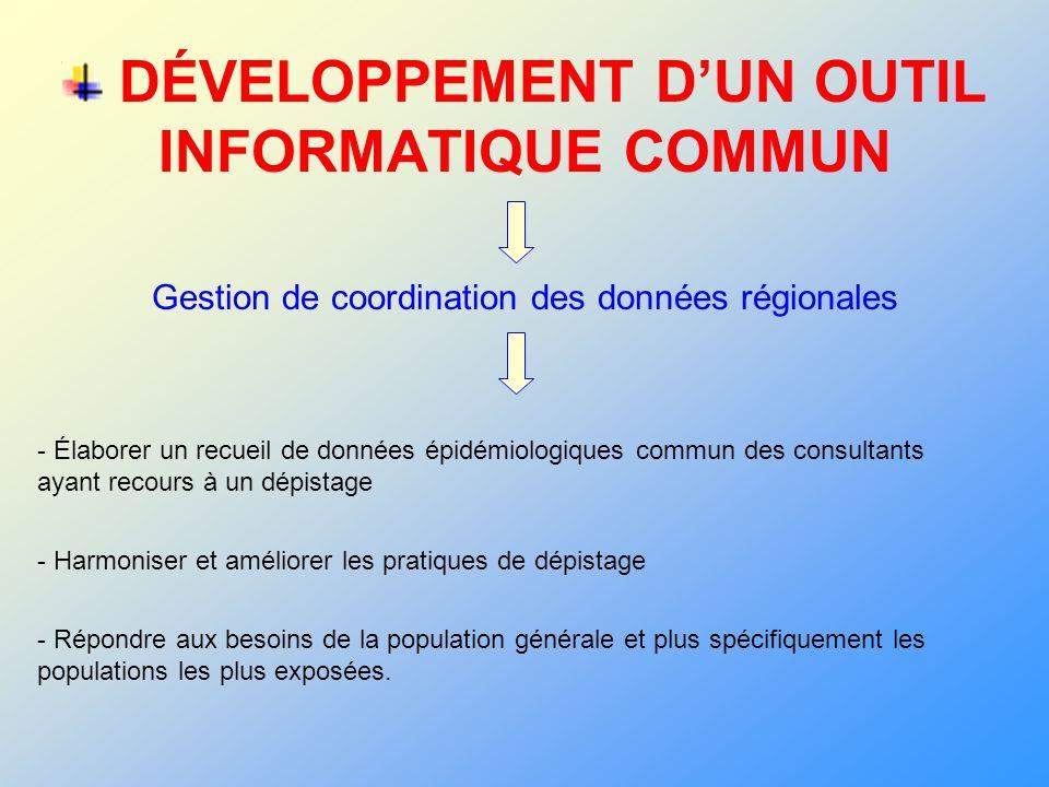 DÉVELOPPEMENT D'UN OUTIL INFORMATIQUE COMMUN Gestion de coordination des données régionales