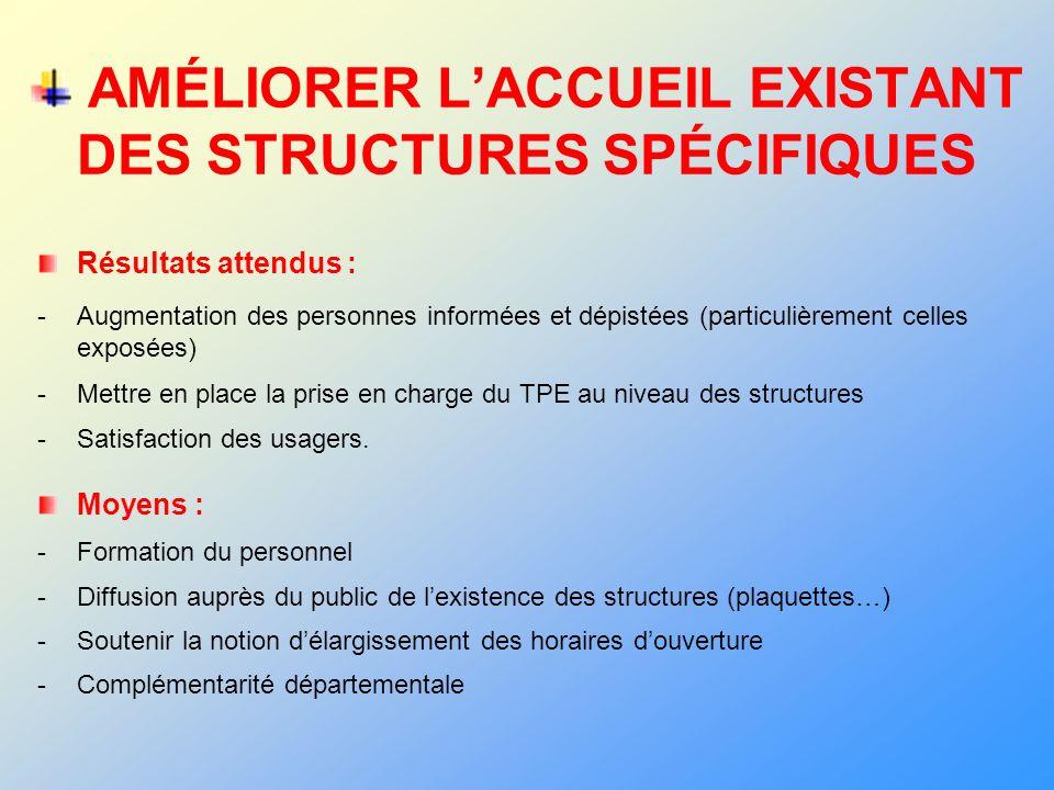 AMÉLIORER L'ACCUEIL EXISTANT DES STRUCTURES SPÉCIFIQUES