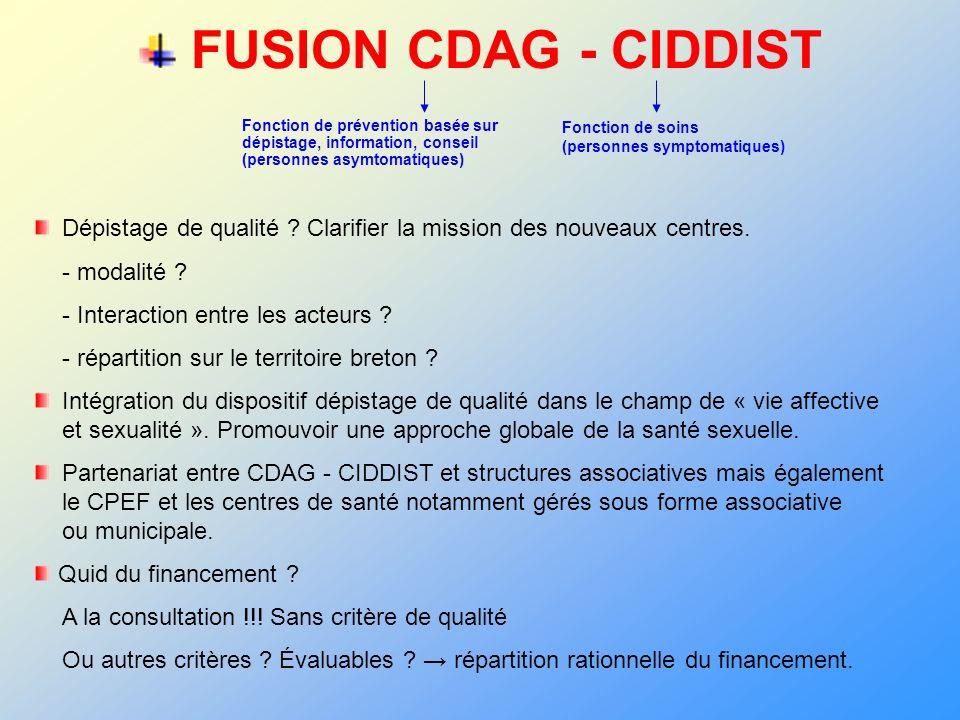 FUSION CDAG - CIDDISTFonction de prévention basée sur dépistage, information, conseil (personnes asymtomatiques)