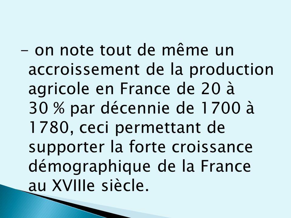 - on note tout de même un accroissement de la production agricole en France de 20 à 30 % par décennie de 1700 à 1780, ceci permettant de supporter la forte croissance démographique de la France au XVIIIe siècle.