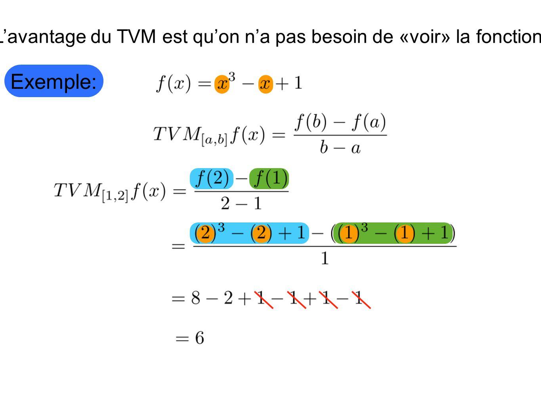 L'avantage du TVM est qu'on n'a pas besoin de «voir» la fonction.